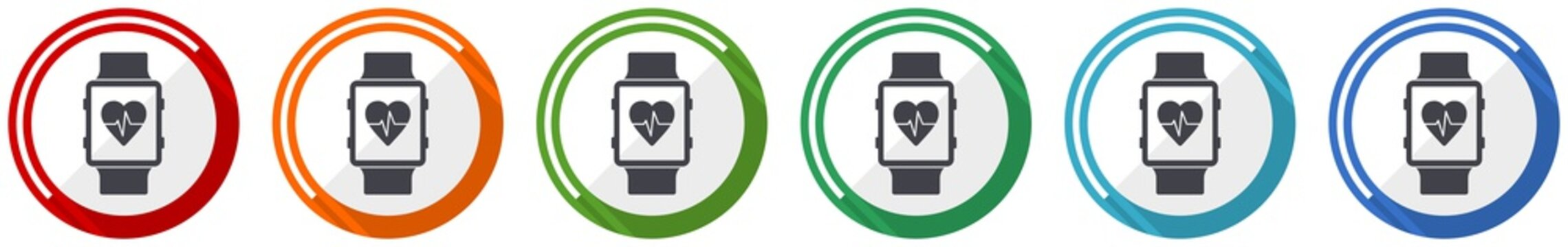Smartwatch icon set, smart watch, fitness flat design vector illustration in 6 colors options for webdesign and mobile applications