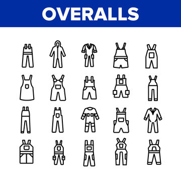 Overalls Worker Protect Clothes Icons Set Vector. Human Protection Overalls, Safety And Protective Body Clothing And Workwear Concept Linear Pictograms. Monochrome Contour Illustrations