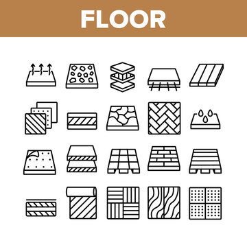 Floor And Material Collection Icons Set Vector. Parquet And Carpet, Laminate And Marble, Linoleum Roll And Waterproof Floor Concept Linear Pictograms. Monochrome Contour Illustrations