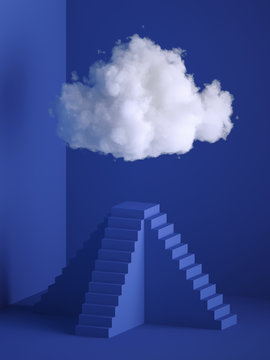 3d render, white soft cloud above the pyramid pedestal, minimal room interior, ladder, stairs. Objects isolated on blue background, modern design, abstract metaphor. Color of the year 2020