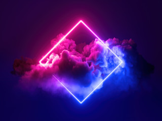 Fototapeta 3d render, abstract minimal background, pink blue neon light square frame with copy space, illuminated stormy clouds, glowing geometric shape. obraz