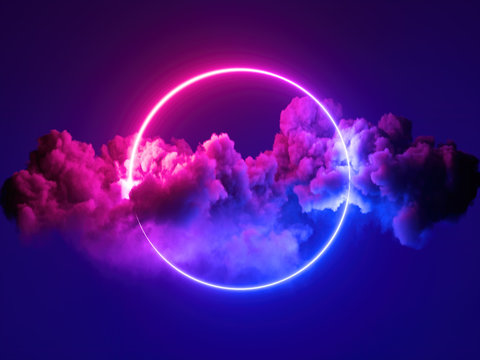 3d render, abstract minimal background, pink blue neon light round frame with copy space, illuminated stormy clouds, glowing ring geometric shape.