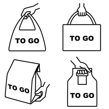 """Illustration set of 4 types of take out food icons """"TO GO"""""""
