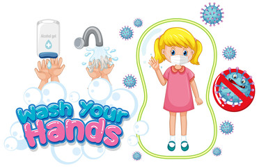 Garden Poster Kids Wash your hands poster design with girl wearing mask