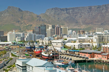 Printed roller blinds City building Skyline view of Cape Town Waterfront, South Africa