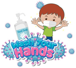 Garden Poster Kids Wash your hands poster design with boy wearing mask