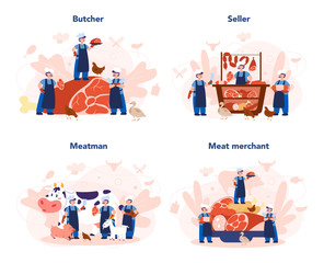 Autocollant pour porte Des Illustrations Butcher or meatman concept set. Fresh meat and meat products