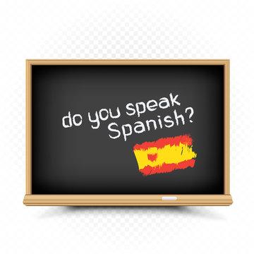 Spanish lessons sign draw on school chalkboard