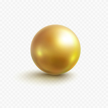 Gold bead isolated on transparent background. Golden metallic ball or glossy bubble template. Vector 3d metal sphere, shiny capsule icon.