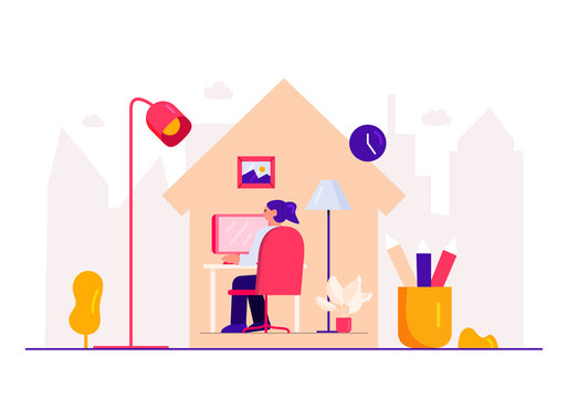 Flat Style Design. Freelancer Working from Home Telecommuting Vector Illustration