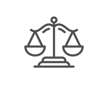 Justice scales line icon. Judgement scale sign. Legal law symbol. Quality design element. Editable stroke. Linear style justice scales icon. Vector