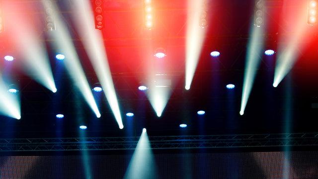 Stage lighting during a rock concert. Web banner.