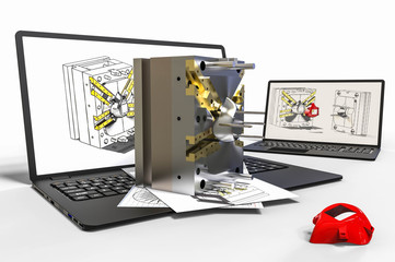 Computer aided design in Mold design with 3D software. Business, development.