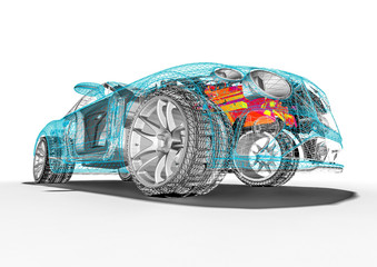 Concept car blueprint – 3D perspective. Machine, print.