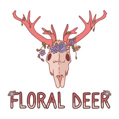 Pink kawaii cartoon deer skull animal illustration. Cute girly floral deer text. Childish hand drawn doodle style. For baby nursery decor, boho kids fashion, trendy doodle woodland graphic.