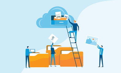 Flat business technology cloud computing service concept and with developer team working concept