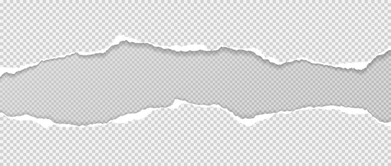 Obraz Pieces of torn white paper with soft shadow stuck on grey squared background. Vector illustration - fototapety do salonu