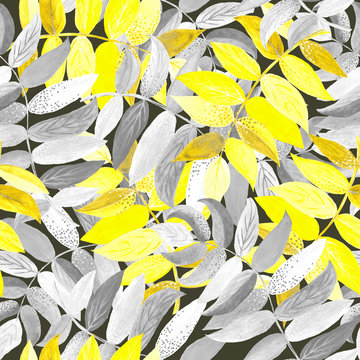Grey and yellow watercolor branches on grey background: floral seamless pattern, tender wallpaper print, spring and summer textile design.