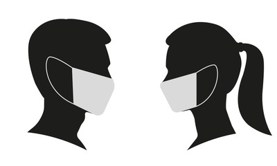 Man and Woman profile face silhouette in medical mask. Male and female head illustration. Vector illustration.  Fototapete