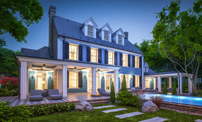 3d rendering of modern cozy classic house in colonial style with garage and pool for sale or rent with beautiful landscaping on background. Clear summer night with many stars on the sky.