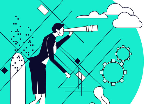 Businesswoman looking with the telescope and searches new business perspectives. Concept illustration