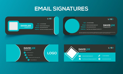 Custom editable Professional layout simple corporate awesome creative best Email Signature Template illustrator vector  Fototapete