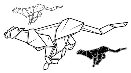 Vector monochrome image of paper cheetah origami (contour drawing by line).
