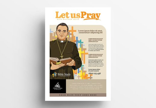 Church Poster Layout with Pastor Illustration