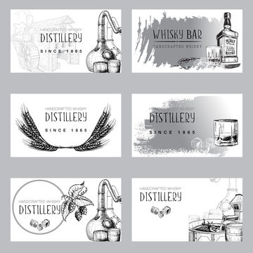 Set of business card templates for the whisky related businesses. Sketch style drawing isolated on white background. EPS10 vector illustration
