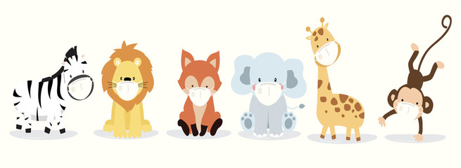 Cute animal object collection with lion,fox,zebra,tiger,elephant,monkey wear mask.Vector illustration for prevention the spread of bacteria,coronviruses