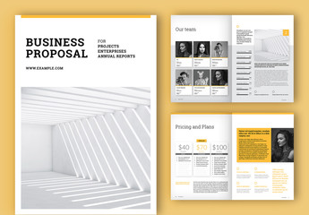 Business Proposal Layout with Yellow Accents