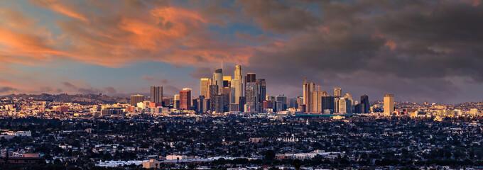 Fototapete - Los Angeles skyline sunset panorama