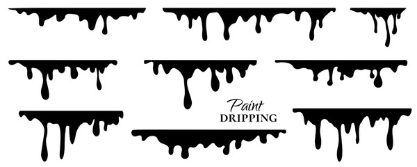 Paint dripping liquid. Black paint oil. Current inks. Vector illustration.