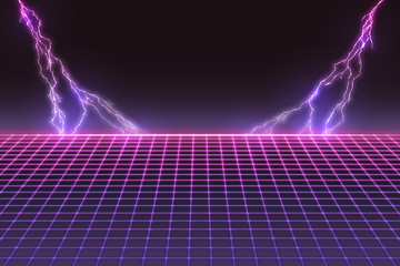 Laser Grid with Bolts of Lightning. Retro Futuristic Template in 80s Style. Synthwave, Retrowave, Vaporwave Theme Fotomurales