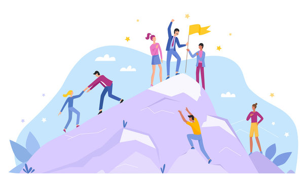 Business people characters climb top peak landing page flat vector illustration concept. Leadership and teamwork, Team leader show way, motivate to success, award trophy flag, competitive environment.
