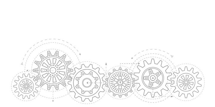 Technical drawing of gears .Rotating mechanism of round parts .Machine technology. Vector illustration.