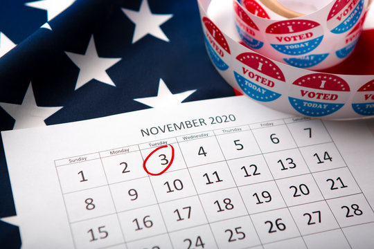 Calendar With Election Day 2020 in the USA, flag of America