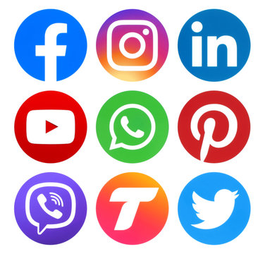 Collection of popular social media circle logos
