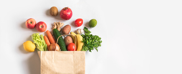 Delivery or grocery shopping healthy food Wall mural