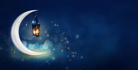 Ramadan Kareem background banner. Islamic Greeting Cards for Muslim Holidays and Ramadan. Blue banner with moon and lantern. Fototapete
