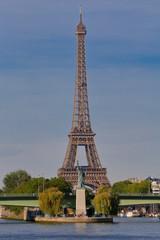 Fotobehang Parijs Statue of Liberty Replica under Eiffel Tower, Paris France