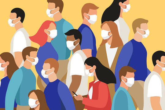 Vector flat illustration of many people in crowd wearing face masks - virus outbreak, pandemic, safety measures