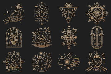 Esoteric symbols. Vector. Thin line geometric badge. Outline icon for alchemy, tarot cards, sacred geometry Mystic, magic design with stars, skull, gate to another world, moon, human skeleton hand Fototapete