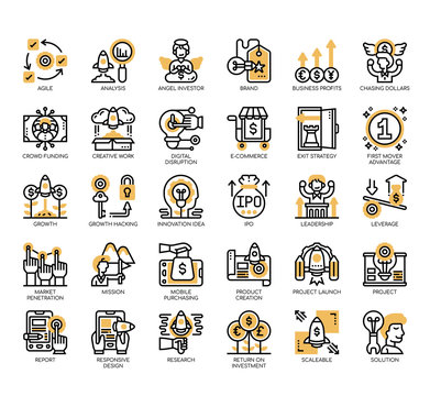 Set of startup thin line and pixel perfect icons for any web and app project.