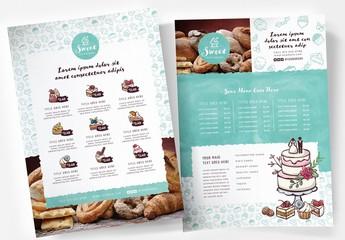 Cake Shop Bakery Menu Poster Layout