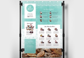 Cake Shop Bakery Banner Layout with Muffin Illustrations