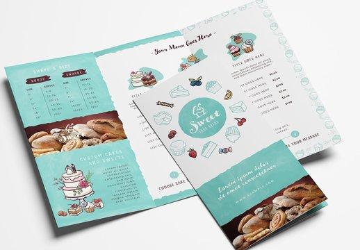 Cake Shop Bakery Trifold Menu Layout