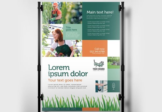 Gardener Poster Layout with Grass Illustrations