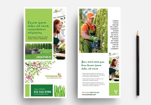 Gardener Rack Card with Watercolor Foliage Illustrations