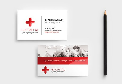 Hospital Business Card Layout for Medical Doctors